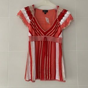 NWT Bebe Striped Crochet and Knit Top, Size XS